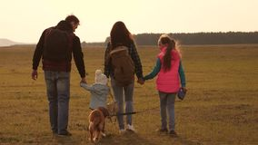 Family travels with the dog on the plain. teamwork of a close-knit family. mother, little child and daughters and pets stock footage
