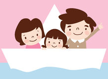 A family travels in ship. Cartoon vector illustration Stock Image