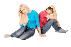 In the family treason girl and guy sitting upset Stock Photos