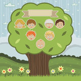 Family tree. Landscape background with people on a family tree vector illustration