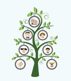 Family Tree. Stylized with cartoon family and leaves Royalty Free Stock Image