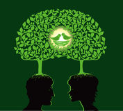 Family tree. Vector illustration of two people dreaming about family vector illustration