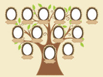 Family tree. In vector file empty frames and name tags are individually grouped. You can easily duplicate them or remove as needed stock illustration