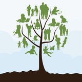 Family tree. With leaves in the form of people. A  illustration Stock Image