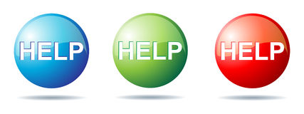 Help button. Illustration of help buttons on white background Royalty Free Stock Image