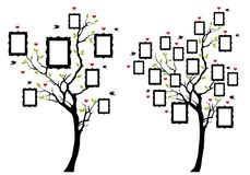 Family tree with photo frames, vector Royalty Free Stock Photos