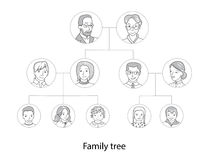 Family tree chart thin line style vector Royalty Free Stock Photography