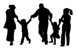 Happy family silhouette vector. Family with tree children having fun,playing, running, silhouette vector Royalty Free Stock Photo