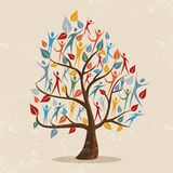 Family tree concept illustration with people icon. Family tree symbol with colorful people. Concept illustration for community help, environment project or stock illustration