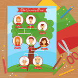 Family Tree Creative Handwork Flat Poster Royalty Free Stock Image