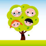Family tree with grandparents and kids Royalty Free Stock Photography