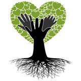 Family Tree-Hand. Illustration of a tree, the heart and hands like a family tree Stock Photography