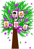 Family Tree. Happy face family on tree Royalty Free Stock Photo