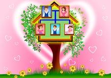 Family Tree. Happy face family on tree house Royalty Free Stock Image