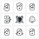 Family tree icons set. Vector Illustration. Royalty Free Stock Image