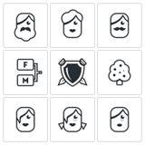 Family tree icons set. Vector Illustration. Royalty Free Stock Image