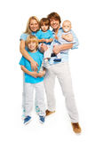 Family with tree kids and happy parents Stock Image