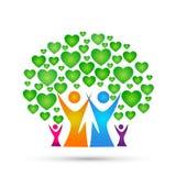 Family tree logo, family, parent, kids,green heart, love, parenting, care, symbol icon design vector on white background. Family tree logo, family, parent, kids stock illustration