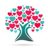 Family tree logo, family, parent, kids, heart, love, parenting, care, symbol icon design vector royalty free illustration