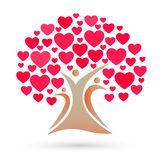 Family tree logo, family, parent, kids, red heart, love, parenting, care, symbol icon design vector. Concept on white background vector in ai10 additional royalty free illustration