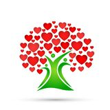 Family tree logo, family, parent, kids, red heart, love, parenting, care, symbol icon design vector on white background. For company or any type design royalty free illustration