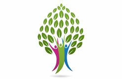 Family Tree concept design. Isolated white background, a family happy tree grow with leafs logo template of illustrator vector stock illustration