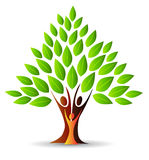 Family Tree Logo. A family tree with leaves logo icon Stock Photos