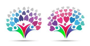 Family tree logo, with family,parent,hearts. Family tree logo and family heart tree, parent and ,love and care health education set icon design vector Stock Image