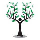 Family tree, tree man, love nature logo stock illustration