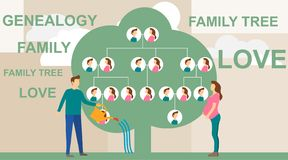Family tree in modern flat illustration. A man is watering a family tree with photos of relatives, and a pregnant wife. Is standing nearby. Human genealogical royalty free illustration