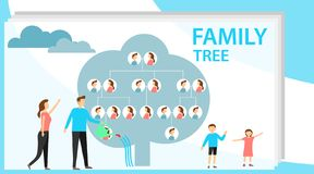 Family tree in modern flat illustration. A man is watering a family tree with photos of relatives, and a pregnant wife. Is standing nearby. Human genealogical vector illustration