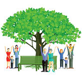 Family tree. Multi generational family under leafy tree royalty free illustration