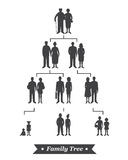 Family tree with people avatars of four generations. Isolated on white background. Realistic images stock illustration