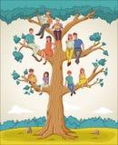 Family tree with people. Cartoon family on genealogical tree. stock illustration