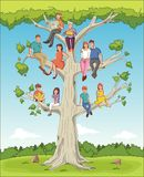 Family tree with people. Cartoon family on genealogical tree. Nn royalty free illustration