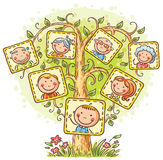 Family tree in pictures, little child with his parents and grandparents Royalty Free Stock Photography