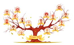 Family Tree Horizontal Cartoon Illustration Royalty Free Stock Photos