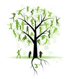 Family tree, relatives, people silhouettes Royalty Free Stock Photo