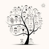 Family tree, relatives, people sketch stock illustration