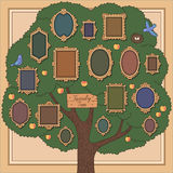 Family tree. With several old-fashioned vignette frames on beige background. Cartoon template for your design vector illustration