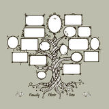 Family tree template with picture frames Stock Photo