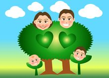 Family trees. Vector illustration for a relationship for family just like a tree and sprout Stock Photography