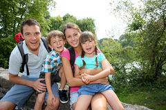 Family on a trekking day Royalty Free Stock Photo
