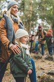 Family trekking together royalty free stock photos