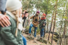 Family trekking together royalty free stock photography