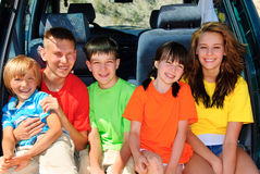Family trip. Five kids together on family trip Royalty Free Stock Images