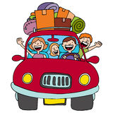 Family Trip. An image of a family driving in their car with luggage on top Royalty Free Stock Photography
