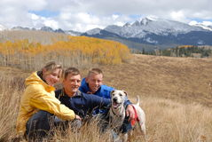 Family on a trip. Father with children and their dog by new york mountain in colorado Stock Photo