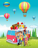 Family trip and balloons flying. Illustration Royalty Free Stock Image
