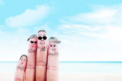 Family trip at beach. Fingers gesturing as family members that travels at the beach Stock Image